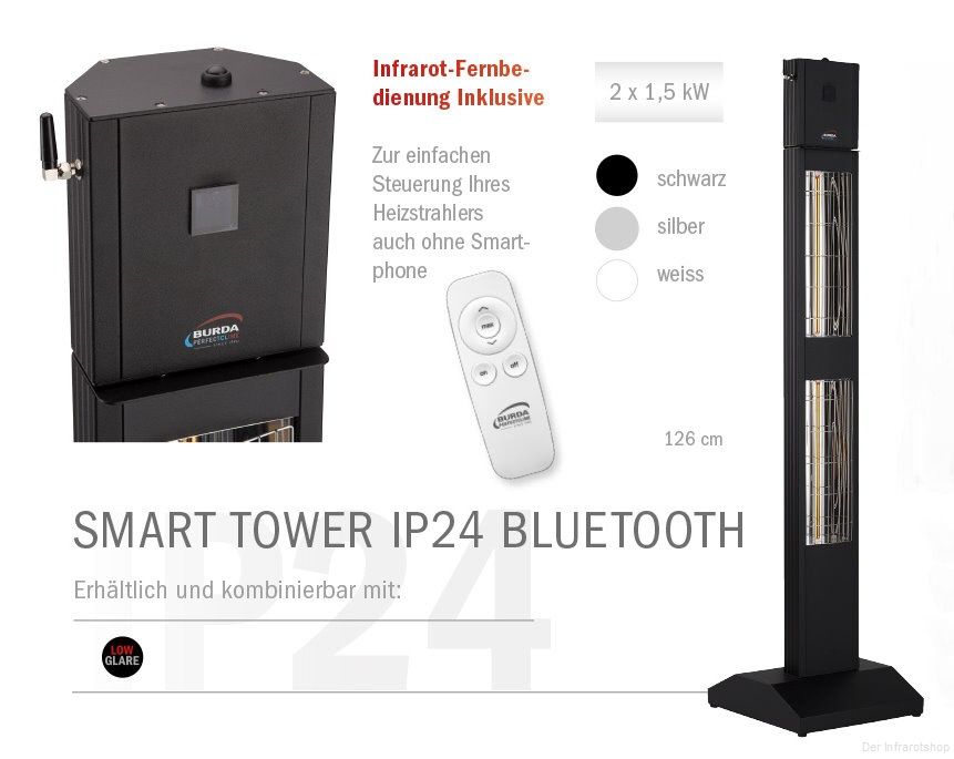burda smart tower ip24 bluetooth standheizstrahler. Black Bedroom Furniture Sets. Home Design Ideas